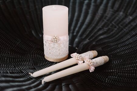 tenderly: Wedding decorated candles in the tenderly light pink style