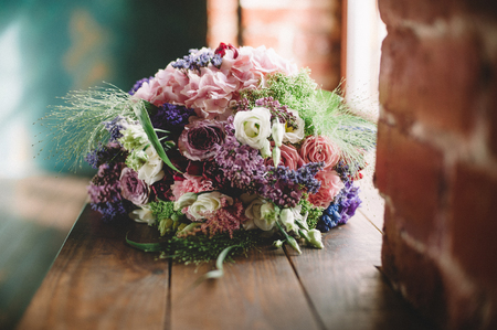 Tenderless bouquet in green and pink and blue colours Фото со стока