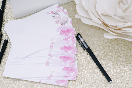 Pen and pages for guests wishes for newlyweds