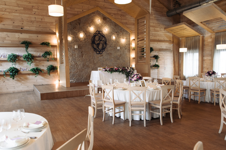Luxury wedding reception stylish, white decoration expensive room Banque d'images
