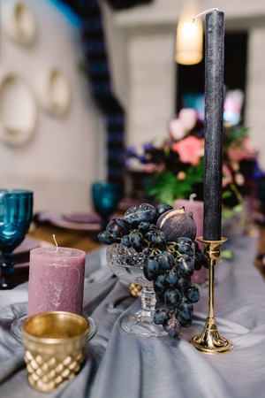 Details Of Decorating Of A Wedding Candles Flowers And
