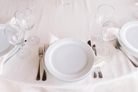 Beautiful cutlery on the wedding table