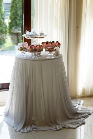 A table with sweets. Beautiful candy bar