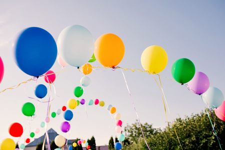balloons in the sky. Decoration of a Birthday of the child