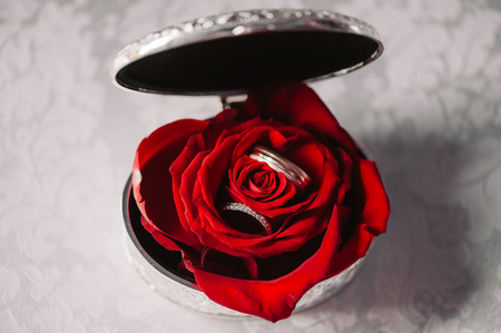 Wedding silver box with the rings in the red rose bud on the white cloth