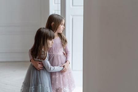 Serious little sisters in beautiful dresses stand near a window.