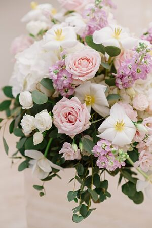 Beautiful fresh flowers to decorate the wedding table and banquet hall in the restaurant. Range of wedding flowers