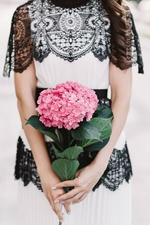 A girl in a white vintage pattern dress holds a branch with pink hydrangea. Beautiful flower in the hands of a woman
