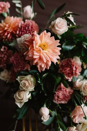 Luxury and gentle wedding flowers, flowering buds of different colors.
