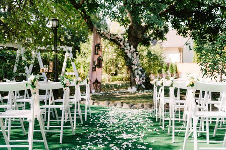 Stylish white wooden chairs stand on a green lawn for guests at the wedding. White petals on the lawn and buds with fresh flowers on the backs of the chair decorate the passage.
