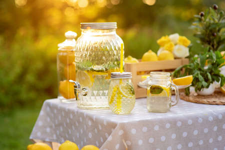 Big jar with lemonade outdoors. Copy space. The concept summer relax and harvest. Healthy Food and Drink.