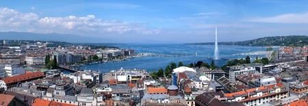 The city of Geneva, the Leman Lake and the Water Jet, in Switzerland, Europe, panoramic and aerial view