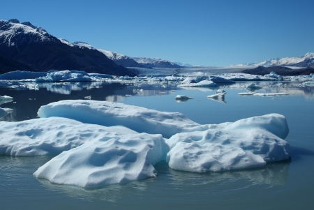lake argentina: Iceberg floating on lake, Upsala Glacier, Argentino Lake, Patagonia, Argentina Stock Photo
