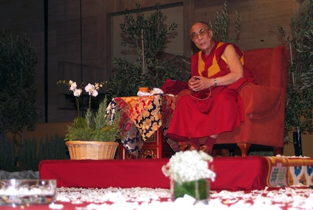 BARCELONA, SPAIN - September 10, 2007: XIV Dalai Lama Tenzin Gyatso speaks in a conference on September 10, 2007 in Barcelona, Catalonia, Spain