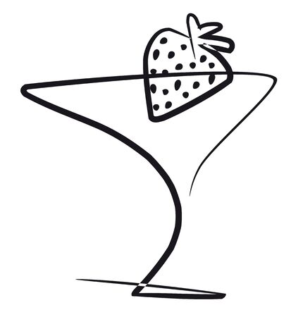 vermouth: Cocktail with strawberry, illustration in black with white background