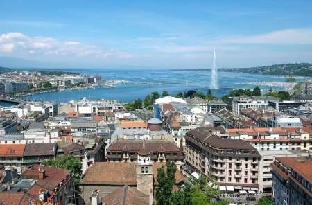 geneva: The city of Geneva, the Leman Lake and the Water Jet, in Switzerland, Europe, general and aerial view Stock Photo