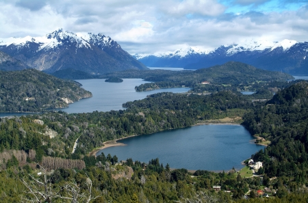 lake argentina: View on the lake Nahuel Huapi near Bariloche, Argentina, from Cerro Campanario  Stock Photo