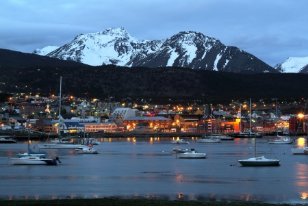 Night view of the port of Ushuaia, Tierra del Fuego, Patagonia, Argentina