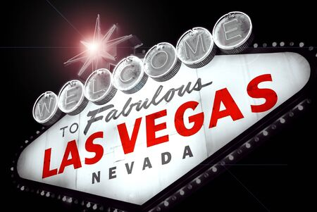 las vegas sign: Welcome to Las Vegas, Nevada  USA , at night