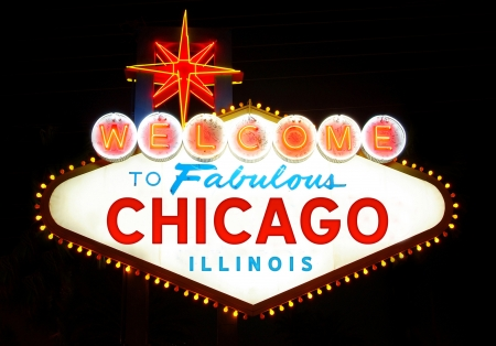 Welcome to Fabulous Chicago, Illinois  USA , at night