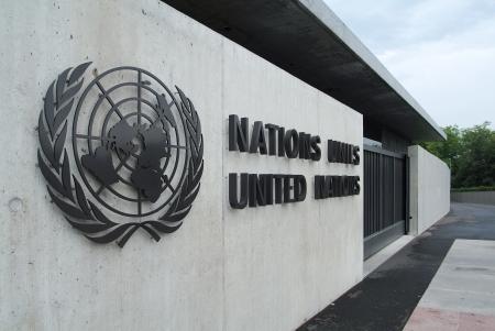 onu: Building of the United Nations in Geneva  Switzerland