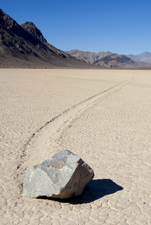 Sliding rock located on Racetrack Playa in a remote part of Death Valley National Park.