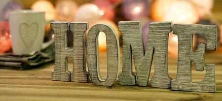 "For home decorating inside; letters of ""home"" Banco de Imagens"