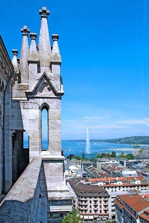 Geneva, the Leman Lake and the Water Jet