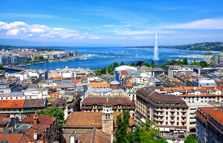 Aerial view of Geneva and the Jet d'Eau Banque d'images