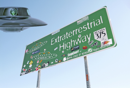 Extraterrestrial Highway sign in Nevada, USA, and a flying saucer!