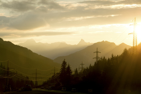 Sunset in the mountains Banque d'images