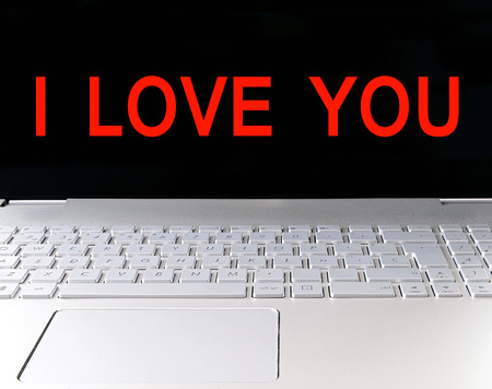 Love message on a computer screen