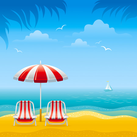 horizon over water: beach background Illustration