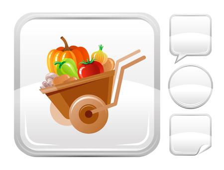 edible mushroom: Wheelbarrow icon on silver button