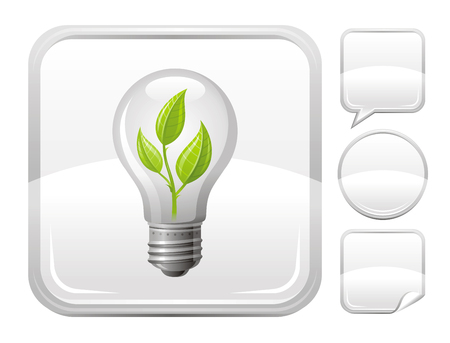new generation: Light bulb with sprout icon on silver button