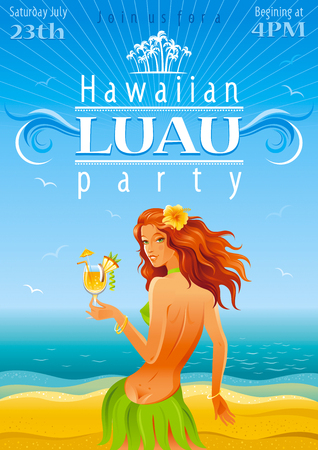 Blue beach background with beautiful hula girl and tropical cocktail 일러스트