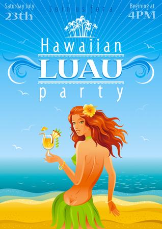 Blaue Strand Hintergrund mit schönen Hula-Mädchen und tropischen Cocktail Standard-Bild - 57765523