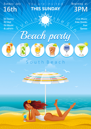 Beach background with beautiful girl and tropical cocktail Illustration