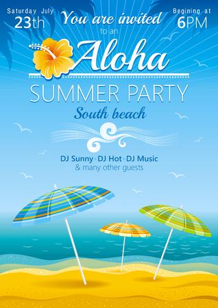 cartoon umbrella: Day beach poster for hawaiian party with umbrellas