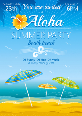 Day beach poster for hawaiian party with umbrellas