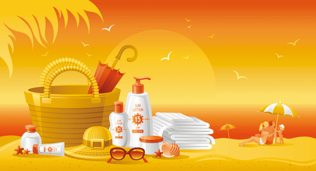 sun protection: Sun protection cosmetics for the family on the beach. Beautiful tubes with creams and lotions, family on the beach as background