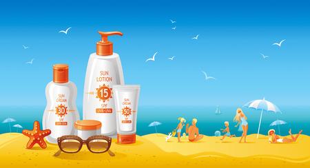 bonito: cosméticos de protección solar para la familia en la playa. tubos hermosas con cremas y lociones, de la familia en la playa como fondo. Vectores