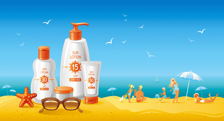 beauty product: Sun protection cosmetics for the family on the beach. Beautiful tubes with creams and lotions, family on the beach as background.