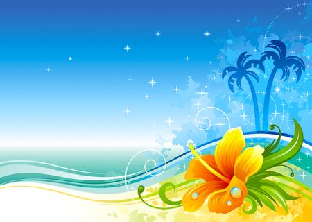 Fond coloré de la mer d'été avec hibiscus et palmiers Banque d'images - 57766281