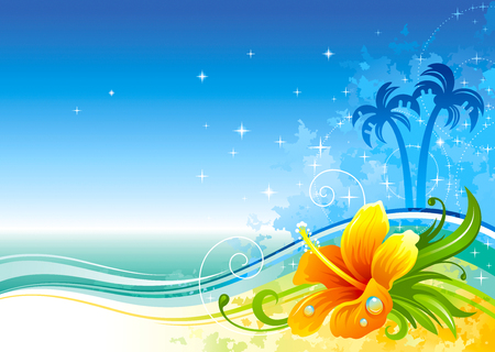 Colorful summer sea background with hibiscus and palms Stock Illustratie