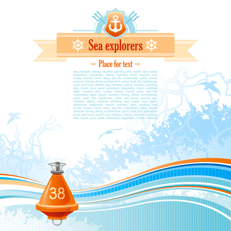 copyspace: Sea background in blue colors with net, foam, and seagulls and buoy. Copyspace for your text Illustration