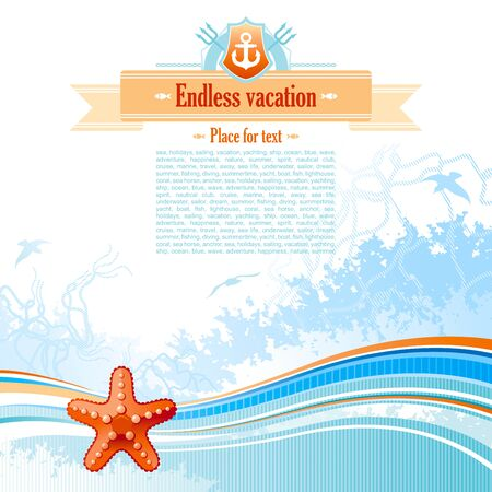 copyspace: Sea background in blue colors with net, foam, and seagulls and starfish. Copyspace for your text Illustration