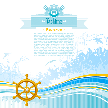 copyspace: Sea background in blue colors with net, foam, and seagulls and helm. Copyspace for your text Illustration