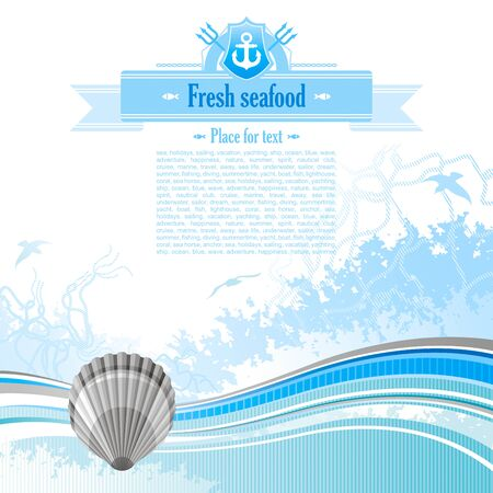 copyspace: Sea background in blue colors with net, foam, and seagulls and scallop. Copyspace for your text