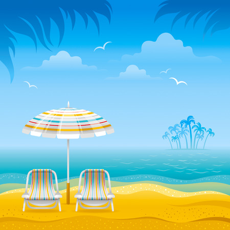 outdoor chair: Beach background with blue sea, stripped beach chairs and beach umbrella. Illustration